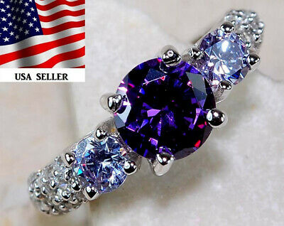 Flawless 2CT Amethyst & White Topaz 925 Solid Sterling Silver Ring Jewelry Sz 7