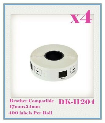 4 x Compatible for Brother DK11204 Refill only Labels 17mmx54mm QL500/550 QL700