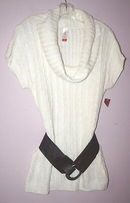 No boundaries short Sleeve Top Knit Sweeter White  sz M Sweater Top Cowl Neck