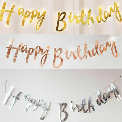 Rose Gold/Gold/Silver Happy Birthday Banner Bunting Garland Party Decorations