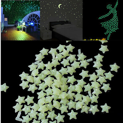 200pcs Stars 3D DIY Glow in the Dark Bedroom Wall Art Stickers Decor Hot Sale