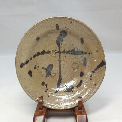 D495: Rare, Real old Japanese E-GARATSU pottery painted plate with good taste
