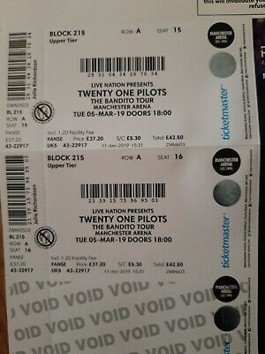 TWENTY ONE PILOTS BANDITO TOUR TICKETS x 2.   MANCHESTER 5th MARCH 2019.