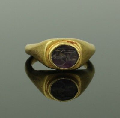 "Ancient Roman Gold & Amethyst Intaglio Ring ""Zeus"" - Circa 2Nd Century Ad   092"