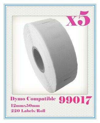 5 x Rolls Quality 99017 Label 50mm x 12mm/220 Per Roll for Dymo LabelWriter
