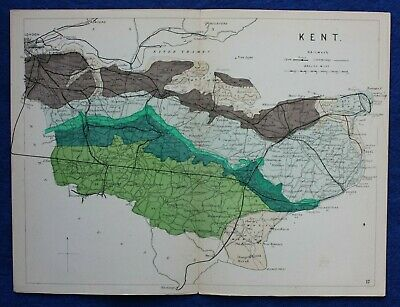 Original antique GEOLOGICAL MAP, KENT, RAILWAYS, Reynolds, 1864-89