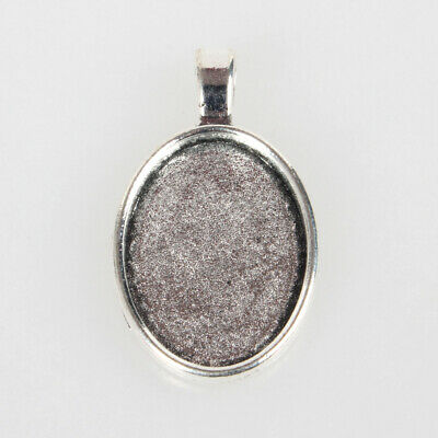 10pcs Vintage Alloy Pendant Cabochon Bezel Setting Bezels Antique Silver 18x25mm