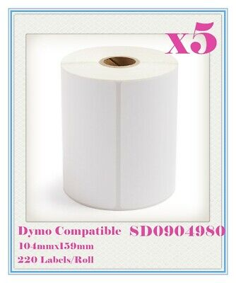 5 Compatible for Dymo 4XL SD0904980 Large Label 104 x 159mm