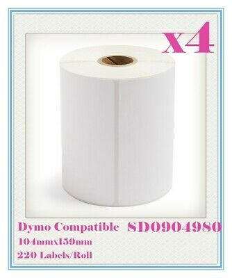 4 Compatible for Dymo 4XL SD0904980 Large Label 104 x 159mm