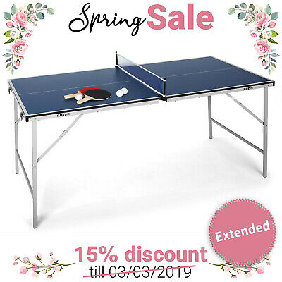 Table Ping Pong 12mm Tennis Table Pliante Revêtement Anti-Chocs 75x153cm - Bleu