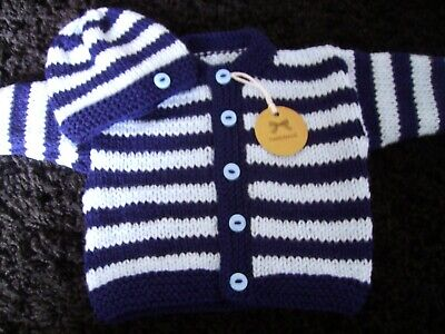 W@W lovely new hand knitted striped cardigan + hat set *(NEWBORN)*