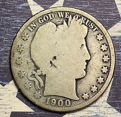 1900 Barber Silver Half Dollar Collector Coin For Your Set Or Collection .