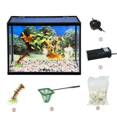 Aquarium Fish Tank, 17 Lit Starter Set With Gravel/Plastic Plant/Air Pump Filter
