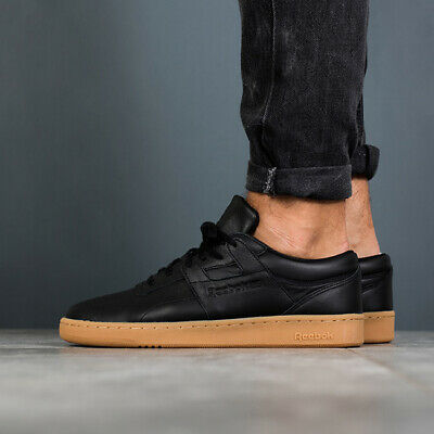 REEBOK CLUB WORKOUT Men`s Leather Trainers Classic Black Lace Up BS6206