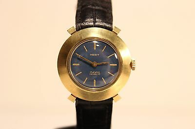 "Vintage Beautiful Rare Swiss Gold Plated Ladies Watch""Merit""17J./Nice Blue Dial"