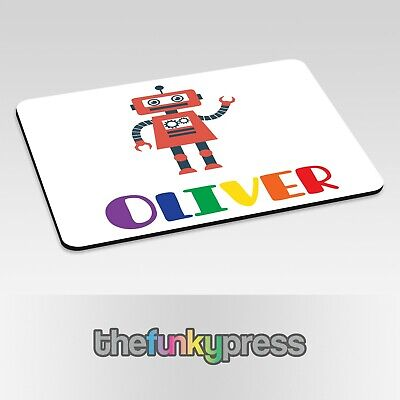 Personalised Robot Placemat Cute Rainbow Add Any Name Free