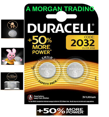 x2 Duracell CR2032 3V Lithium Button Battery Coin Cell DL/CR 2032 Expiry 2024