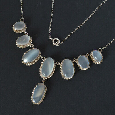 Antique Vintage Moonstone Drop Necklace on sterling silver chain