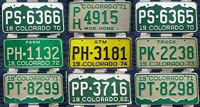 COLORADO various nice old retro AMERICAN LICENSE NUMBER PLATE some 50 years old