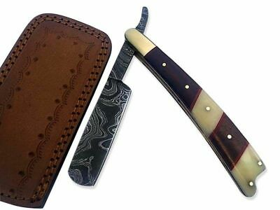 Damascus Steel Straight Razor Cut Throat Barber Salon Shaving with leather Pouch