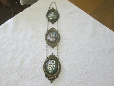 Vintage/antique Chain Hanging Silk Padded Pictures In Brass Frames Made In Italy