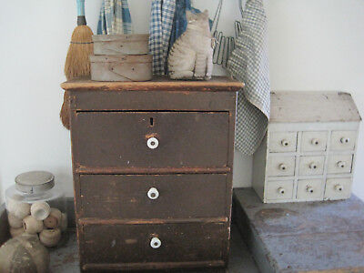 19th Century New England Original Red Paint Three Drawers Apothecary Cabinet