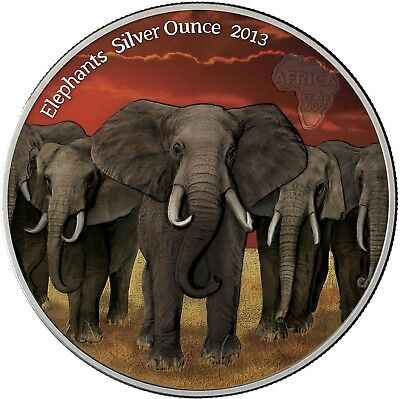Ghana 5 Cedis 2013 Elefantenherde Elephants Silver Ounce Antique Finish in Farbe