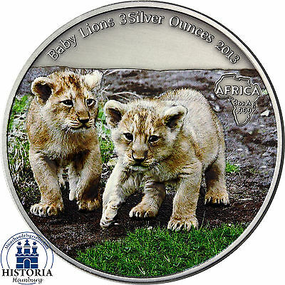 Kongo 2000 Francs 2013 Baby Lions 3 Silver Ounces in Farbe