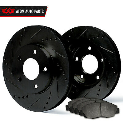 2013 2014 2015 Ford Taurus Non SHO (Black) Slot Drill Rotor Metallic Pads R