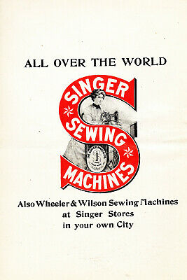1906 Singer Sewing Machines Pretty Lady Color Trademark Advertisement