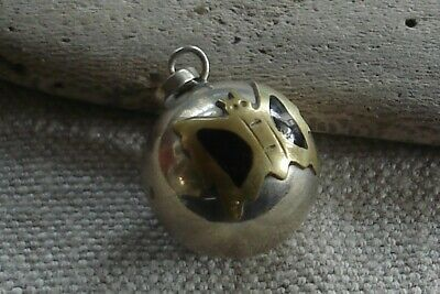 Vintage Mexican Alpaca Brass Butterfly Chime Ball Pendant Necklace Mexico