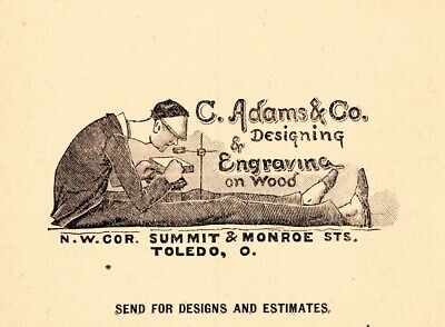 1892 C. Adams Designing & Engraving Co, Toledo, Ohio Advertisement
