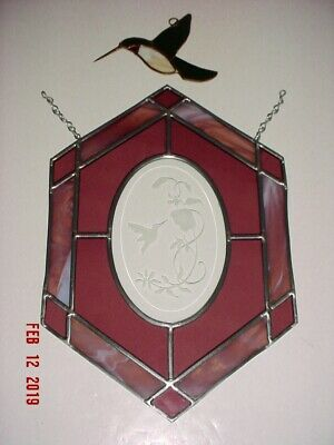 LOT OF TWO (2) Pcs STAINED ART GLASS - HUMMINGBIRD AND HUMMINGBIRD PANEL