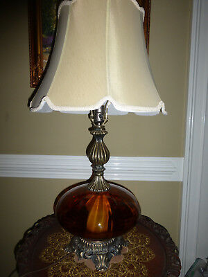 Vintage Eames Era Mid Century Amber Glass Lamp with Nightlight