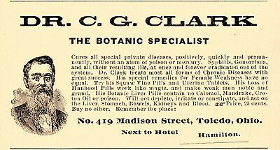 1902 Dr. C. G. Clark Botanic Specialist, Toledo, Ohio Cure-All Advertisement