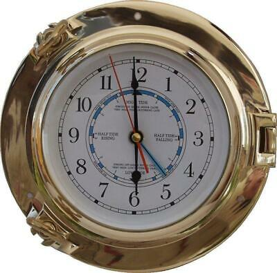G3066: Luxury Tide- Watch, Exclusive Portholes Watch from Polished Brass Ø 22 CM