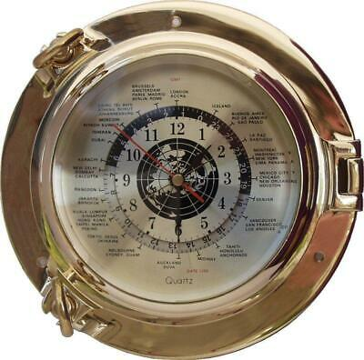 G3065: Luxury World Clock,Portholes Watch with World Brass Ø 22 CM
