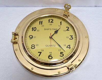 G4907: Large Ship's Clock Portholes Watch Fine Maritime Wall Made of Brass Ø 40