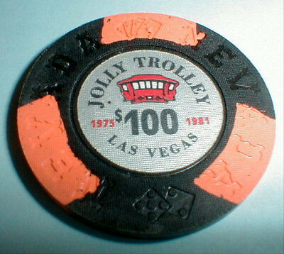 $100 Chip Jolly Trolley Casino Las Vegas Nevada Borland 1975-1981 & Casino Info