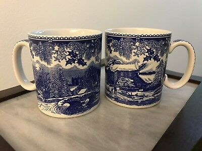 Spode Winter's Eve mugs, set of two, blue and white