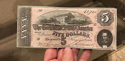 1864 $5 Dollar Bill Confederate States Currency Civil War Note Xf