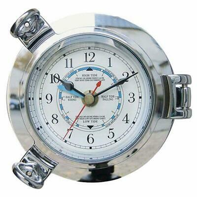 Tidenuhr, Portholes Watch Brass Chrome-Plated, Fine Wall Clock with Tidenanzeige