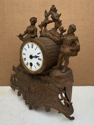 Vintage Antique French Japy Freres Gilt Spelter Mantle Clock To Restore