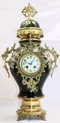 Antique 19th c French Gilt Bronze & Porcelain 8 Day Bell Striking Mantle Clock