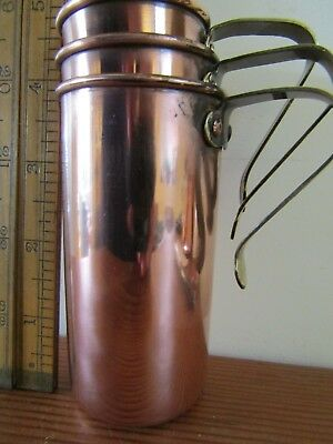 Arts and Crafts copper / tin lined baking measures, 1 cup to 1/2 cup. ( stacking
