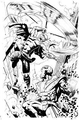 Thor VS Thanos Original art cover commission 11x17 Marvel