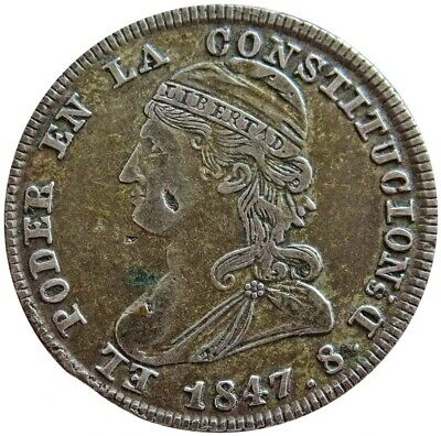 1847 Gj Silver Ecuador Republic 2 Reales Capped Bust Coin Quito Mint
