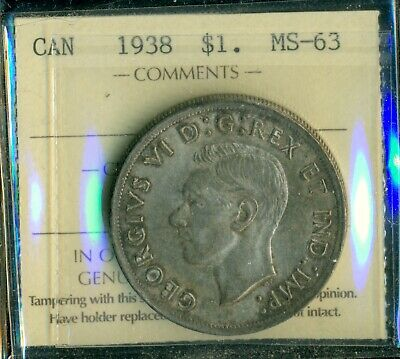 1938 Canada King George VI Silver Dollar, ICCS Certified MS-63