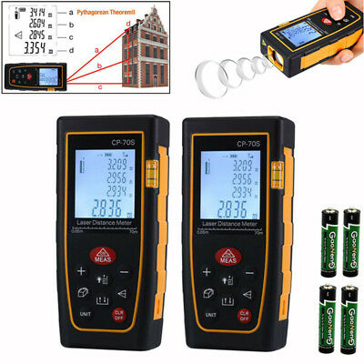 2X 100M / 328ft Digital LCD Laser Distance Meter Range Finder Measure Tape Tool