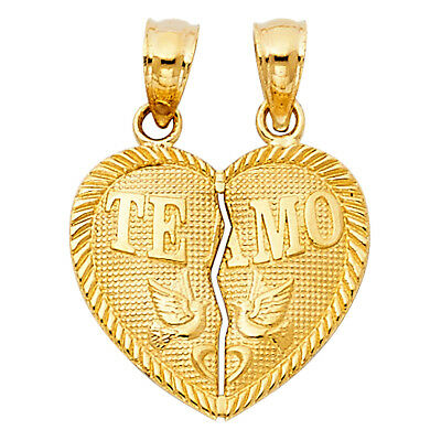 14k Yellow Solid Gold Te Amo Heart Breakable Split Broken Small Charm Pendant